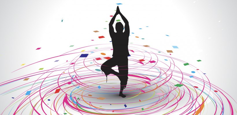 A young woman doing yoga vector silhouette in rainbow mosaic wave line , vector illustration