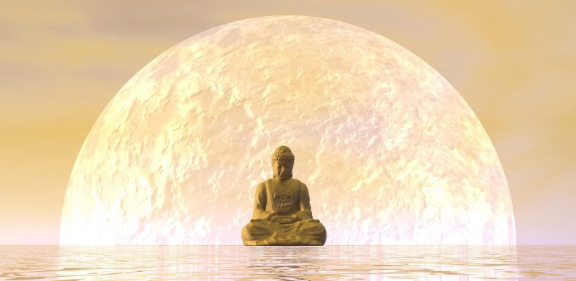 Buddha meditation by orange night - 3D render